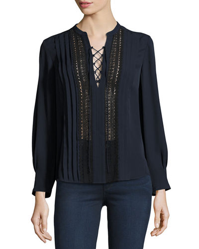 Rebecca Taylor Lace-Up Silk Georgette Top