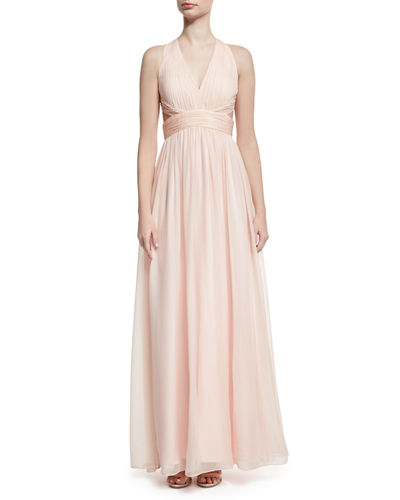 Shirred Silk Chiffon Cutout Gown, Blush
