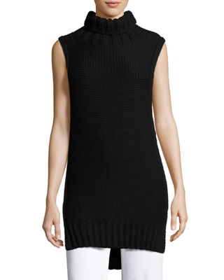 CALVIN KLEIN COLLECTION DOMINIC TURTLENECK SLEEVELESS SWEATER, BLACK