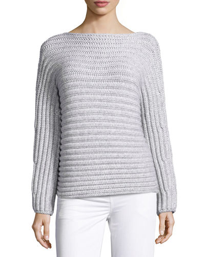 Chunky Knit Boat-Neck Sweater