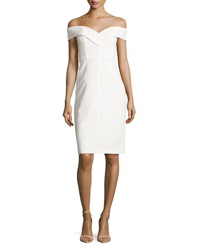 Alice + Olivia Luana Off-the-Shoulder Sheath Dress
