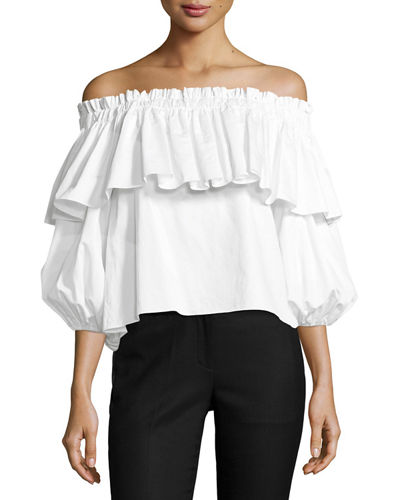 Alexis Barbie Off-the-Shoulder Ruffle Top