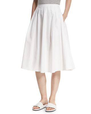 Pleated Midi A-Line Skirt