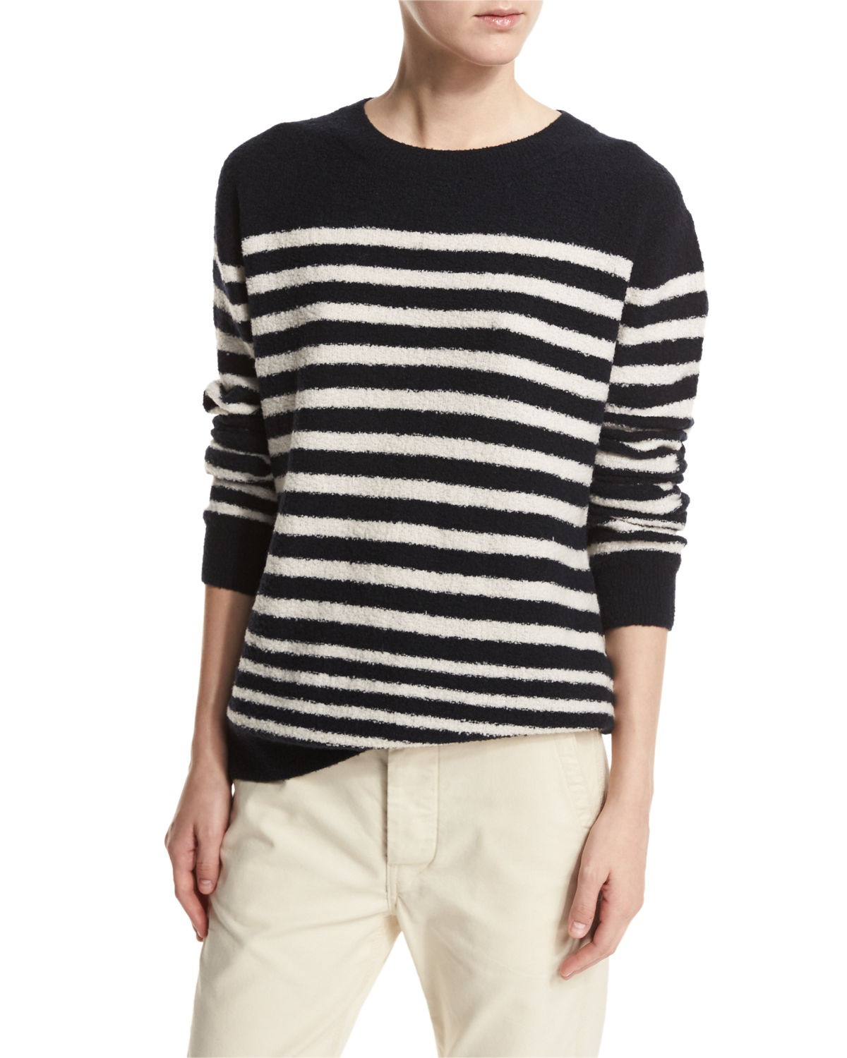 Engineer-Striped Textured Pullover