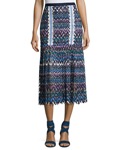 Saloni Diana C Chevron Lace Midi Skirt