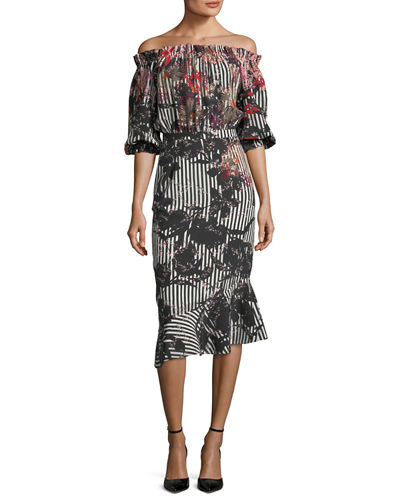 Grace Midi Floral Stripe-Print Dress