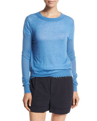 Image 1 of 4: Raw-Edge Cashmere Sweater