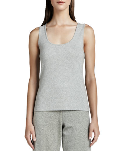 Joan Vass Scoop-Neck Cotton Tank, Petite