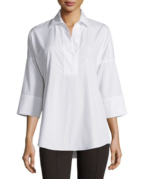 Akris punto Kimono-Sleeve Split-Neck Blouse, White