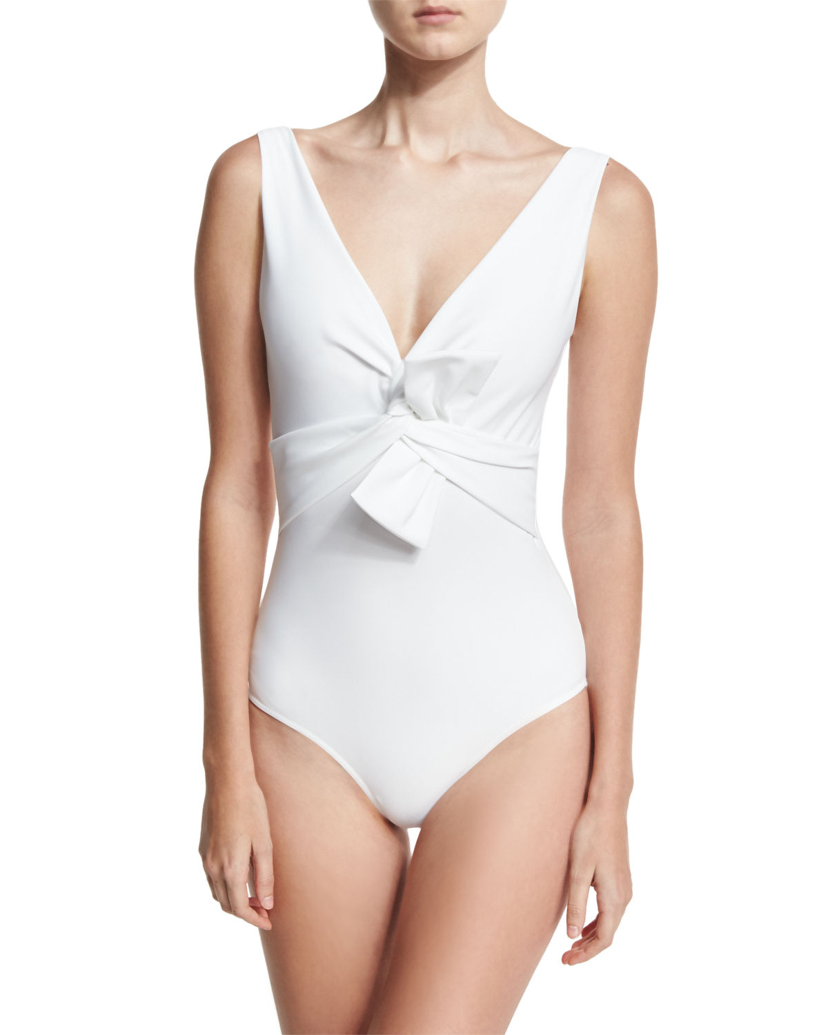 Xeni V-Neck Bow-Detail One-Piece Swimsuit