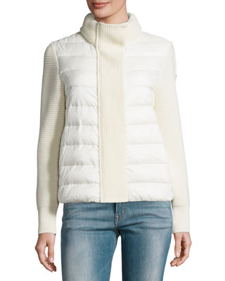 Moncler Maglione Quilted/Tricot Cardigan Jacket