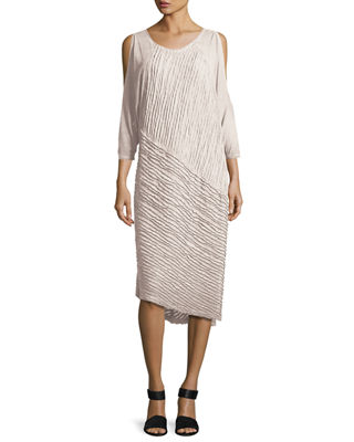 Image 1 of 3: Trella Cold-Shoulder Rope-Trim Knit Dress