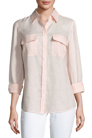 Go Silk Petite Long-Sleeve Button-Front Linen Top