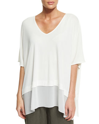 Image 1 of 2: 3/4-Sleeve Silk Jersey Easy Top, Plus Size
