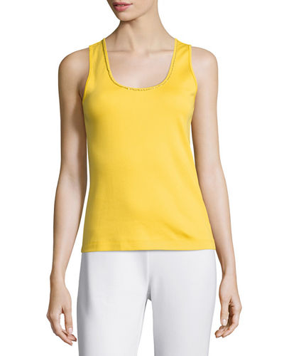 Joan Vass Golden-Chain Sleeveless Tank, Petite