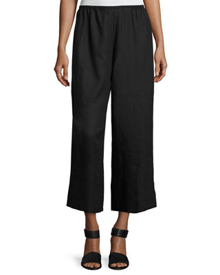 Caroline Rose Tissue Linen Wide-Leg Pants, Petite
