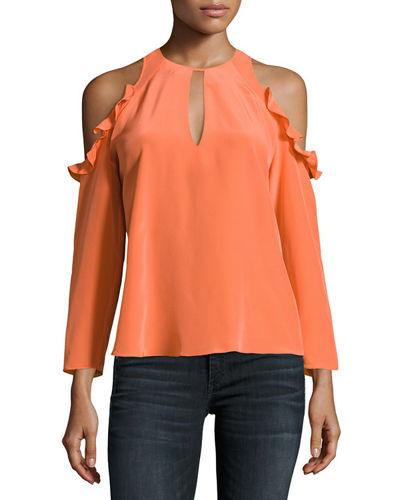 Amanda Uprichard Casius Cold-Shoulder Crepe Top