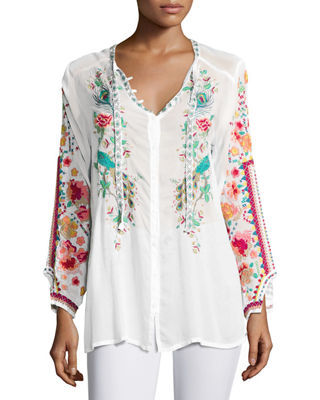 Embroidered Tie-Neck T-Shirt Dress Neiman Marcus