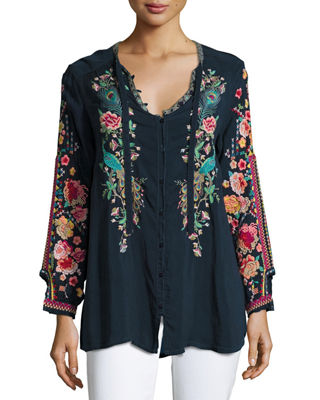 Johnny Was Peacock Embroidered Georgette Top