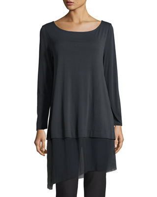 Image 1 of 2: Bateau-Neck Layered Tunic w/ Asymmetric Sheer Hem