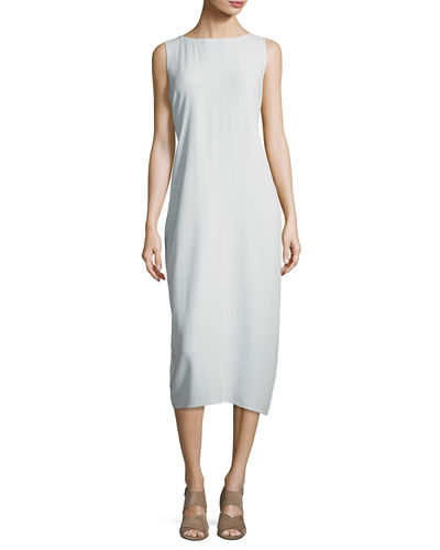 Eileen Fisher Sleeveless Bateau-Neck Silk Crepe Midi Dress,
