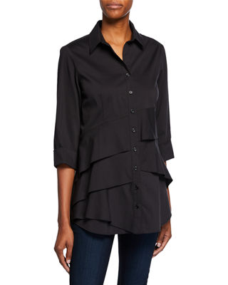 Jenna Tiered-Ruffle Long Blouse