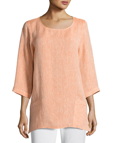 Caroline Rose Chambray Pocket-Front Tunic, Plus Size