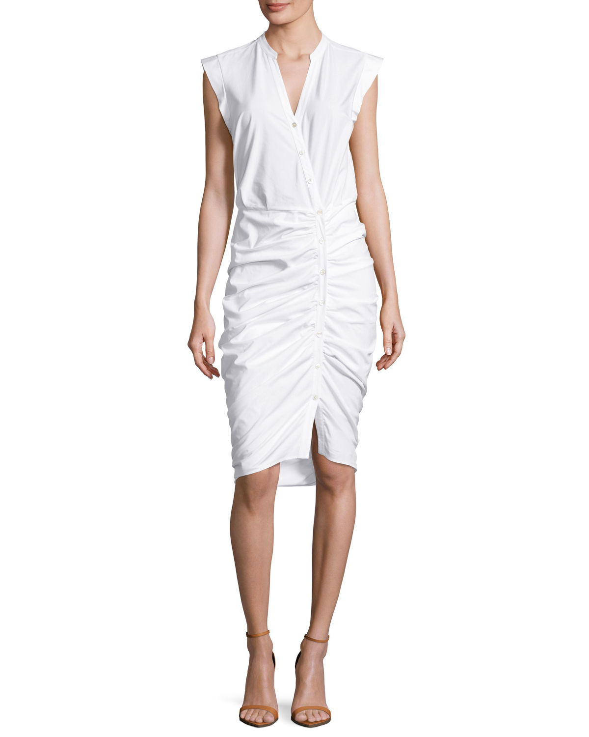 Veronica Beard Sleeveless Ruched Poplin Shirtdress Neiman Marcus