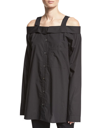 Robert Rodriguez Cold-Shoulder Oversized Shirt Tunic