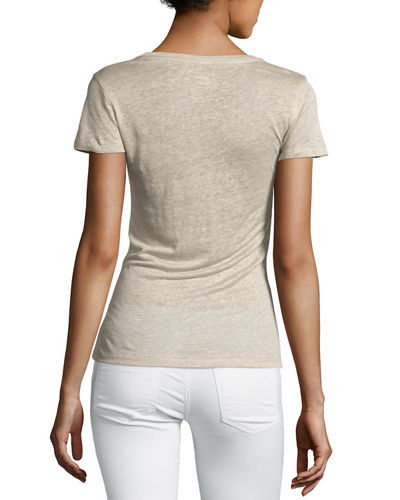 Linen Short-Sleeve Scoop-Neck Tee
