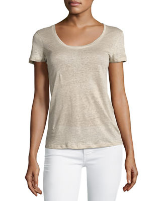 Majestic Paris for Neiman Marcus Linen Short-Sleeve Scoop-Neck