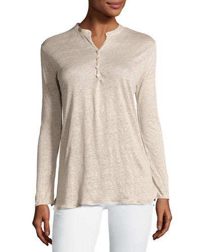 Long-Sleeve Linen Henley