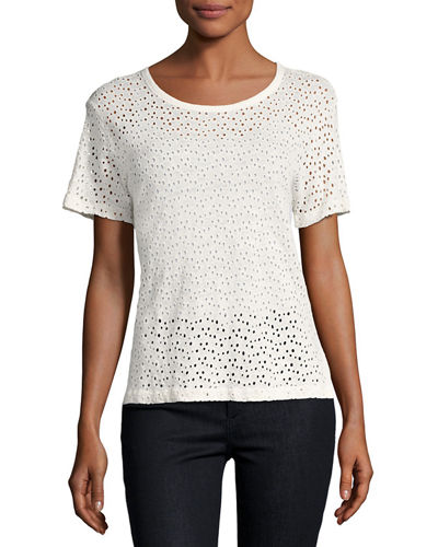Majestic Paris for Neiman Marcus Linen Eyelet Short-Sleeve