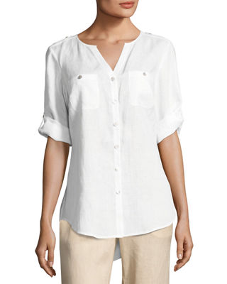 Linen Tab-Sleeve Shirt, Plus Size