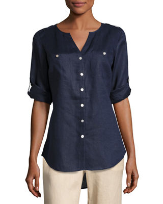 Image 1 of 2: Linen Button-Front Tunic, Petite
