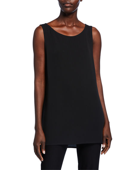 Eileen Fisher Silk Georgette Bateau-Neck Long Tank