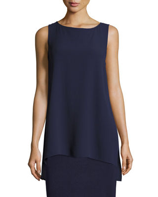 Bateau-Neck Silk Georgette Crepe Shell, Plus Size in Midnight