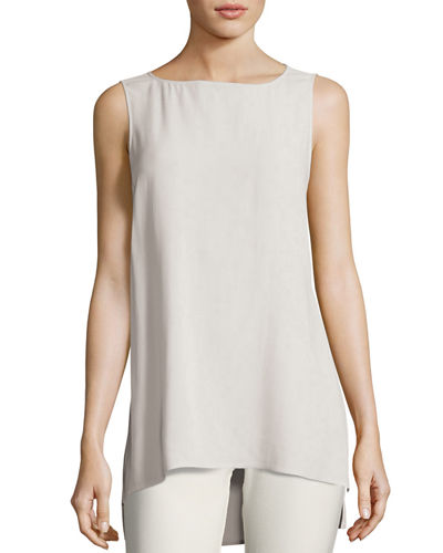 Eileen Fisher Bateau-Neck Silk Georgette Crepe Shell, Plus