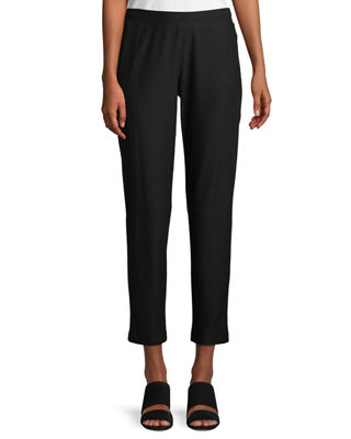 Eileen Fisher Washable Stretch-Crepe Slim Ankle Pants, Petite