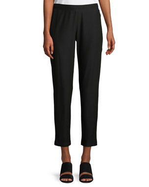 7c1856140a Eileen Fisher Petite Washable Stretch-Crepe Slim Ankle Pants