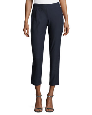 System Washable Crepe Slim-Leg Ankle Pants, Regular & Petite, Midnight