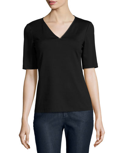 Short-Sleeve V-Neck Stretch-Cotton Top w/ Chain Detail