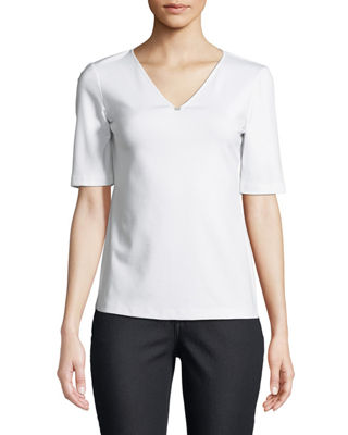 Image 1 of 2: Short-Sleeve V-Neck Stretch-Cotton Top w/ Chain Detail