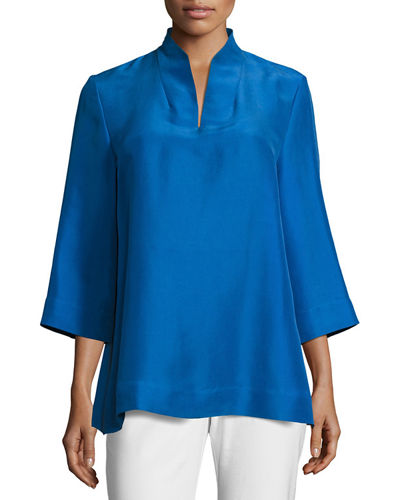 3/4-Sleeve High-Collar Doupioni Silk Blouse
