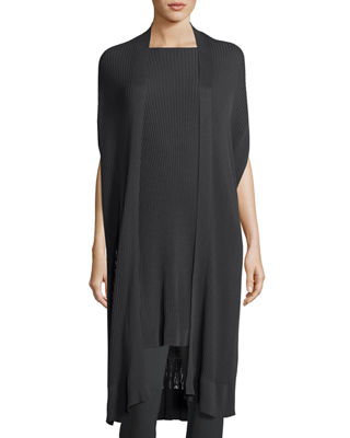 Eileen Fisher Long Sleek Tencel?? Ribbed Kimono Cardigan