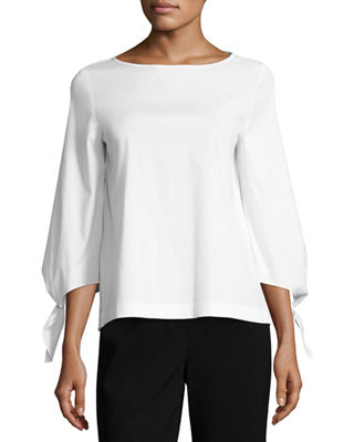 Lafayette 148 New York Elaina Tie-Sleeve Stretch-Cotton Blouse