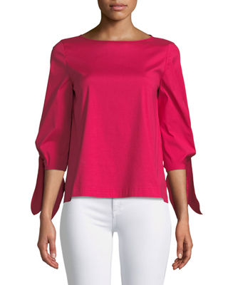 Elaina Tie-Sleeve Stretch-Cotton Blouse