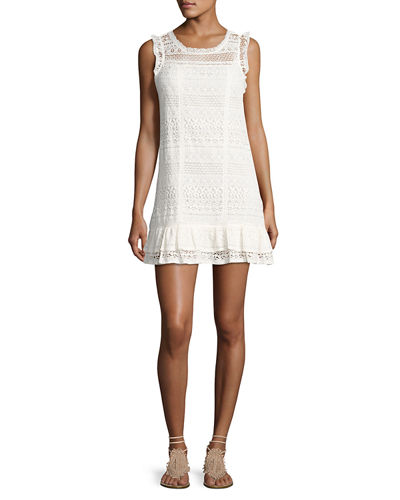Joie Lindell Mixed-Lace Sleeveless Dress
