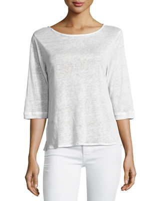 Image 1 of 2: Linen 3/4-Sleeve Boat-Neck Tee