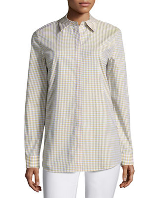 Lafayette 148 New York Brody Cabana Check Button-Front